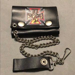 Maltese cross w/flames print biker leather wallet.